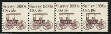 US 1907 Pl #15 18¢ Surrey 1890s PNC /4 Plate Number Coil Stamp Strip