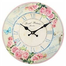 Pink Rose Royal Botanic Wall Clock Shabby Chic Floral Home Decor Homeware Gift