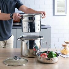 Multi-Cooker Set with Lid 8 Quart Pasta Steam Pot Stainless Steel Steamer Basket