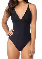 La Blanca Cami Lace Up Back One Piece Swimsuit Bathing Suit SZ 10 Black New!!