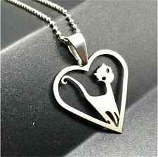 Fashion cat Silver 316L Stainless Steel Titanium Pendant Necklace NEW