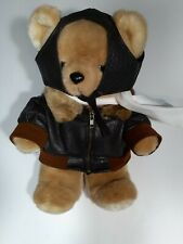 """Paradies Collection Teddy Bear w/brown leather biker jacket & leather helmet 13"""""""