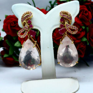 NATURAL 19 X 29mm. PEAR ROSE QUARTZ, PINK RUBY WITH SAPPHIRE EARRINGS 925 SILVER