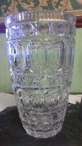 Retro Lovely Heavy Cut Crystal Large Glass Flower Vase -jacobean type patterning