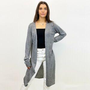 Ex Yessica Womens Grey Fleck Pointelle Longline Cardigan Edge to Edge  S M L XL