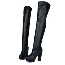 Womens Pleated High Heel Side Zip Riding Over Knee High Boots Shoes ALL Uk Sz