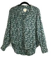 Maeve Anthropologie Womens Sz 2 Teal White Long Sleeve Button Down Tiger Blouse
