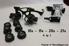 25x Magnifier LED Dual Magnifying Glasses 4 in 1 Coin Stamp Currency Tattoo