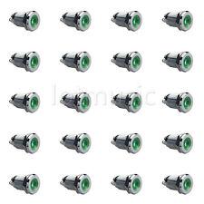 """20pcs 12mm 1/2"""" Green 12V LED Metal Indicator Pilot Dash Light Lamp"""