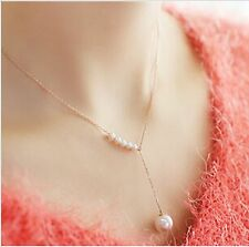 New Style Hot Immitation Pearl Gold Color Chain Statement Necklace Jewellery