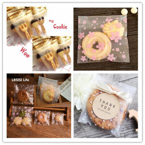 UK 100Pcs Self Adhesive Plastic Cookie Bag Candy Gift Packaging Birthday Bags