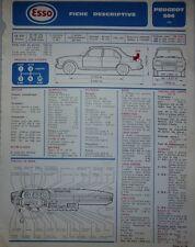 Fiche technique automobile RTA ESSO PEUGEOT 504 1969