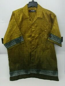 Fubu Collection Mens Yellow Egyptian Anubis in the back button shirt Size XL