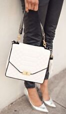 ❤BRAHMIN QUILTED OPHELIA TOP HANDLE FLAP FLORENTINE WHITE BLK LEATHER ~ BRINLEY❤