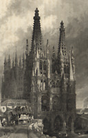 Cathedral of Saint Mary of Burgos Spain Gothic Architecture - c.1850 Old Print