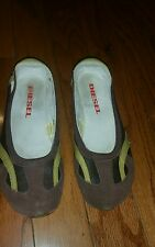 DIESEL  Brown with Green Trim Suede  Leather/Textile Slip-On  6.5 -7 Cute!