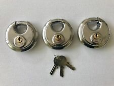 70MM STAINLESS WEATHERPROOF DISC PADLOCK KEYED ALIKE X 3 WITH 3 KEYS