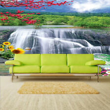 3D Waterfall Flower Wallpaper Bedroom Mural Modern TV Background Wall Painting