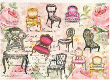 Carta di riso per Decoupage Decopatch Scrapbook Craft sheet SEDIE SHABBY CHIC