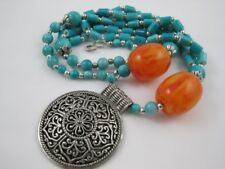 "23"" Turquoise Lucite Orange Swirl Silvertone Filigree Necklace Pendant Ethnic"