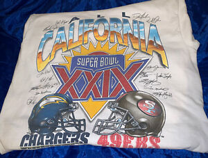 chargers /49ers super bowl xxix 1995 t-shirt / Printed signatures..size large