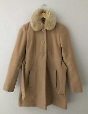 Miss Selfridge Ladies Cream Winter Coat With Faux Fur Collar Size 8 Petite