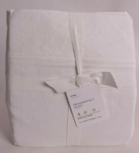 "NWT Pottery Barn PB Essential Bed Skirt, 14"" Drop, King, Classic Ivory"