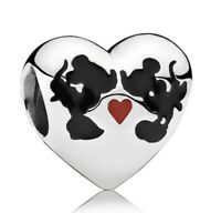 Mickey and Minnie Mouse Disney charm kiss believe in magic silver
