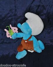 Peluche Doudou Schtroumpf Schlumpf Smurf FERRERO PEYO Bleu Papillon 19 Cm TTBE