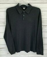 Apt. 9 Polo Mens 2XL Gray Solid Long Sleeve Cotton Stretch Collared 100% Cotton