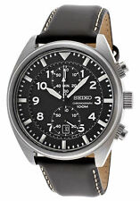 Seiko Men's Stainless Steel Chronograph Quartz Black Dial Strap SNN231P2