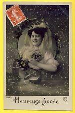 cpa Heureuse Année 1910 Cachet Les ROUSSES Médaillon FEMME FLEUR VOILE Dentelle
