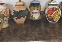 8 Nonni's Hand Painted Biscotti  7 Biscotti/Cookie Jar/Canister, 1 Pitcher