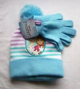 Disney Frozen Knit Hat Mitten Set Print Applique Childrens NEW Girls