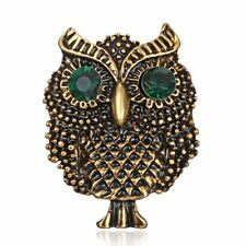 Vintage Retro Gold Lovely Crystal Rhinestone Animal Owl Brooch Pin Jewellery