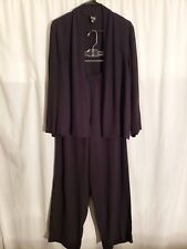 Eileen Fisher-2 Piece Outfit-Blue Rayon Pant-Pockets-LARGE/Long Sleeve Top-SMALL