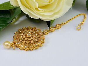 Indian Bollywood Ethnic Maang Tikka Kundan Polki Pearl Wedding Forehead Jewelry