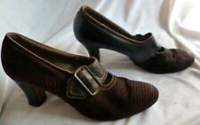 Vintage 1910s Brown Leather & Suede Shoes Heels Size 7