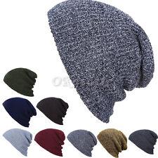 Hommes Femmes Unisexe Tricot Baggy Beanie Chapeau d'hiver Slouchy Chic Tricoté