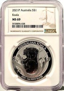 2021-P Australia $1 Koala BU 1 oz .9999 Silver Coin - NGC MS 69