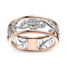 Fashion Leaf Women Wedding Rings Rose Gold Filled White Sapphire Ring Size 9