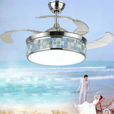 "42"" LED Remote Chandelier Lamp Ceiling Fan Light Retractable Blade Mediterranean"