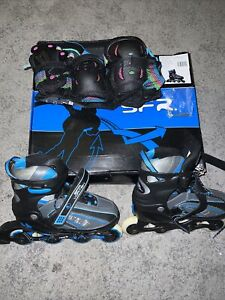 SFR Vortex Kids Blue Inline Adjustable Skates Uk 3-6 Rollerblades, Inc Pads