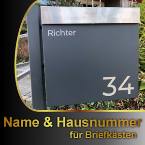 Briefkasten Aufkleber NAME + HAUSNUMMER - Farbauswahl Wunschtext Schild Set