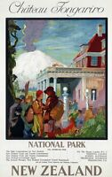"Vintage Illustrated Travel Poster CANVAS PRINT New Zealand Chateau 24""X16"""