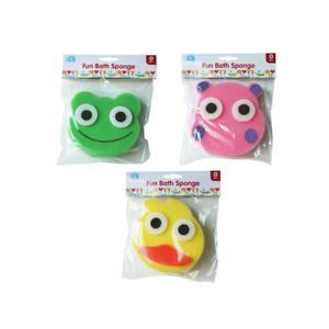 Baby Bath Sponge Kids Body Cleaning Foam Shower Colourful Soft Cartoon Faces Fun
