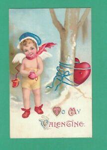 VINTAGE ELLEN CLAPSADDLE VALENTINE'S DAY POSTCARD CUPID TIES HEART TO TREE