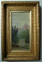 Antique Victorian Rustic WHITE MOUNTAINS New Hampshire Oil Painting Gilt Frame