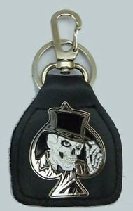 Skull Top Hat Ace of Spades Badged Bikers Leather Keyring.   A041101F