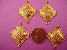6 brass  medieval art nouveau charm connectors with 2 loop 26mm